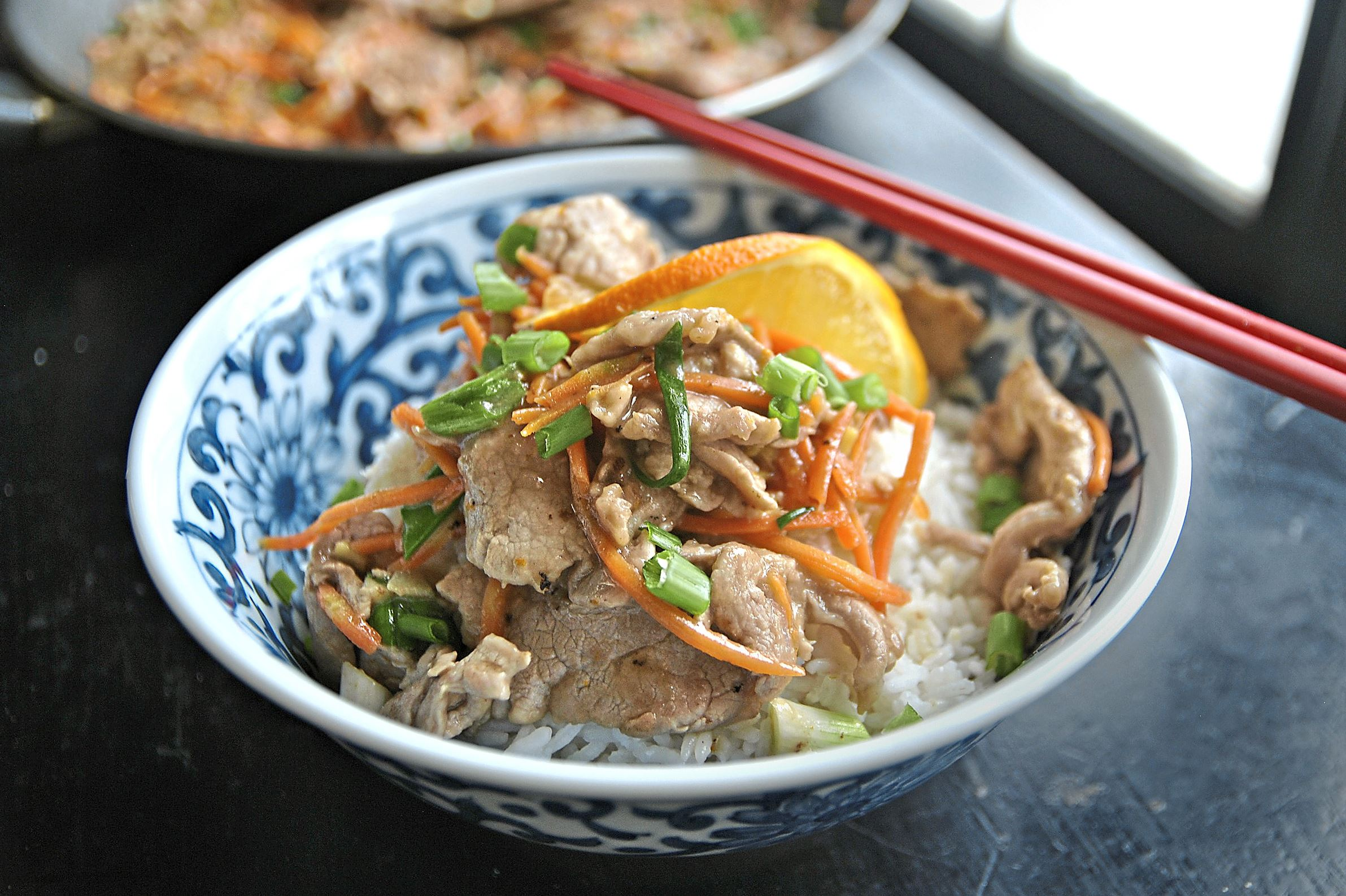 orange-pork-6-1  Orange Pork with Scallions tastes just like restaurant Chinese but with only 214 calories and 586 milligrams of sodium per serving.