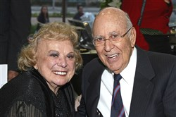 The late actress Rose Marie and comedian Carl Reiner attend the 2008 Backlot Film Festival Tribute to Carl Reiner on April 5, 2008 in Culver City, California.
