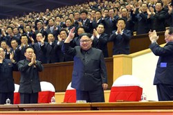 "This picture from North Korea's official Korean Central News Agency (KCNA) taken on December 29, 2017 and released on December 30, 2017 shows North Korean leader Kim Jong-Un (front C) attending an art performance of chorus and the Moranbong band with participants in the 5th Conference of Cell Chairpersons of the Workers' Party of Korea in Pyongyang. / AFP PHOTO / KCNA VIA KNS / - / South Korea OUT / REPUBLIC OF KOREA OUT   ---EDITORS NOTE--- RESTRICTED TO EDITORIAL USE - MANDATORY CREDIT ""AFP PHOTO/KCNA VIA KNS"" - NO MARKETING NO ADVERTISING CAMPAIGNS - DISTRIBUTED AS A SERVICE TO CLIENTS THIS PICTURE WAS MADE AVAILABLE BY A THIRD PARTY. AFP CAN NOT INDEPENDENTLY VERIFY THE AUTHENTICITY, LOCATION, DATE AND CONTENT OF THIS IMAGE. THIS PHOTO IS DISTRIBUTED EXACTLY AS RECEIVED BY AFP.  / -/AFP/Getty Images"