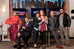 "From left, Nicole Richie as Portia, John Michael Higgins as Chuck, Andrea Martin as Carol, Briga Heelan as Katie, Adam Campbell as Greg and Horatio Sanz as Justin in NBC's ""Great News."""