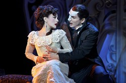 "Meghan Picerno and Gardar Thor Cortes in the roles of Christine and the Phantom in the touring production of Andrew Lloyd Webber's ""Love Never Dies."""