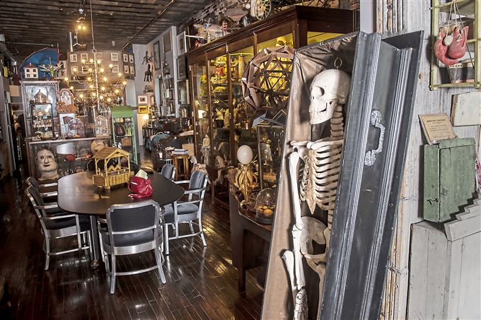 A view of a paper mache skeleton in the dining room of the apartment of Michael Olijnyk and Barbara Luderowski.