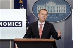 In this file photo, Mick Mulvaney, director of the Consumer Financial Protection Bureau, speaks at a press briefing at the White House on July 20, 2017, in Washington.