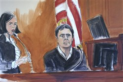 In this Dec. 15, 2017, courtroom artist's sketch, defendant Mehmet Atilla, right, testifies during his trial on corruption charges in New York.