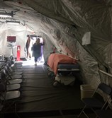 So many people are showing up sick with the flu that a Loma Linda, Calif., hospital put up a giant tent to treat patients in.