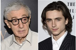 "This combination photo shows director Woody Allen at the premiere of ""Cafe Society"" in New York on July 13, 2016, left, and Timothee Chalamet at the New York Film Critics Circle Awards on Jan. 3, 2018, in New York."