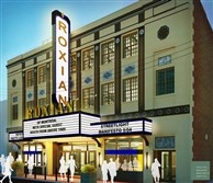 A rendering of the outside of the renovated Roxian Theater.