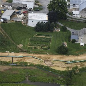 Pipes for the Sunoco Mariner East pipeline are placed in South Lebanon Township, Pa. in July 2017.