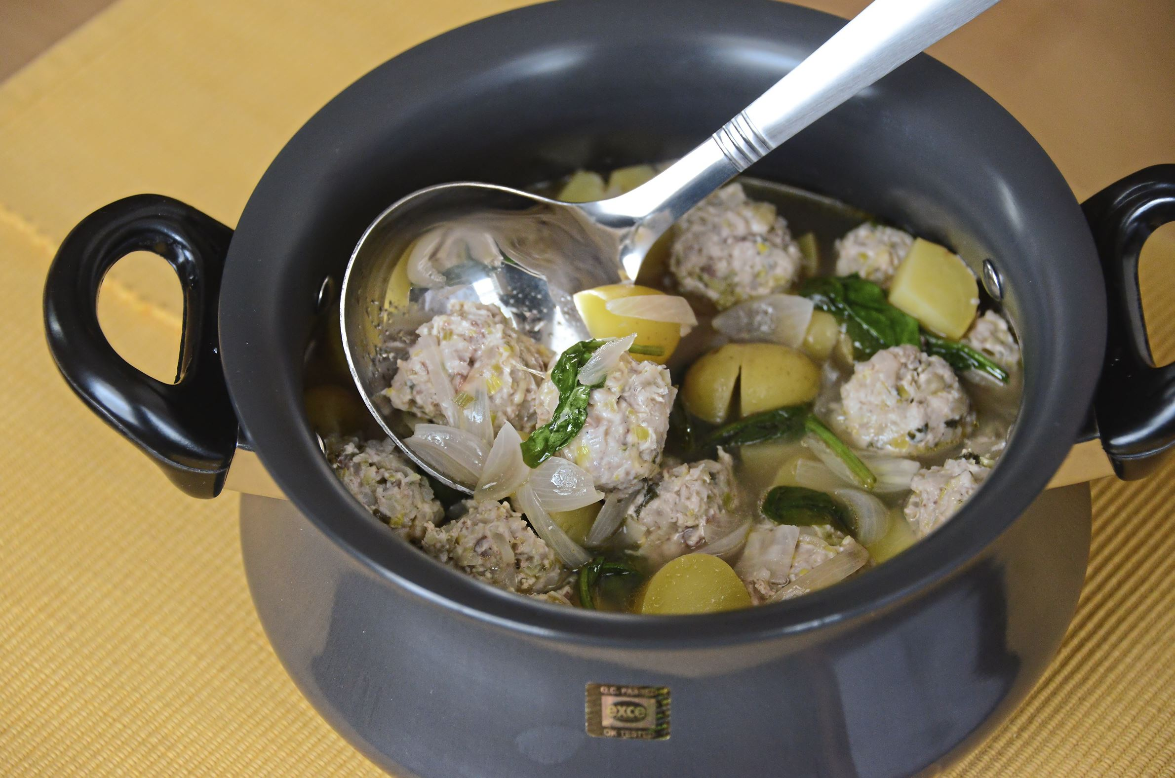 20180105lf-Soup04-5 Chicken Meatballs in Lemon Broth. Diced leeks and fennel are combined with ground chicken to make the meatballs, which are poached in a lemony broth in this soup.