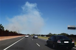 A bushfire breaks out of control near the Peninsula link freeway in Carrum Downs on January 6, 2018, in Australia.