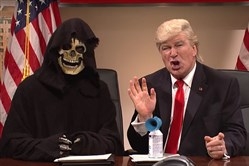 Steve Bannon is portrayed as the Grim Reaper as Alec Baldwin plays President Donald Trump on Saturday Night Live.