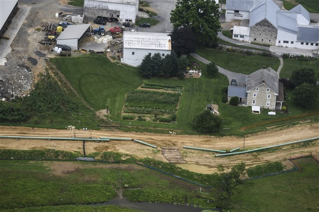Pipes for the Sunoco Mariner East 2 pipeline are placed in South Lebanon Township , Pa., in July 2017.