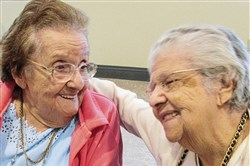Sisters Frances DeMarco, left, and Mary Alioto turned 100 and 102, respectively, in the first week of January 2018.