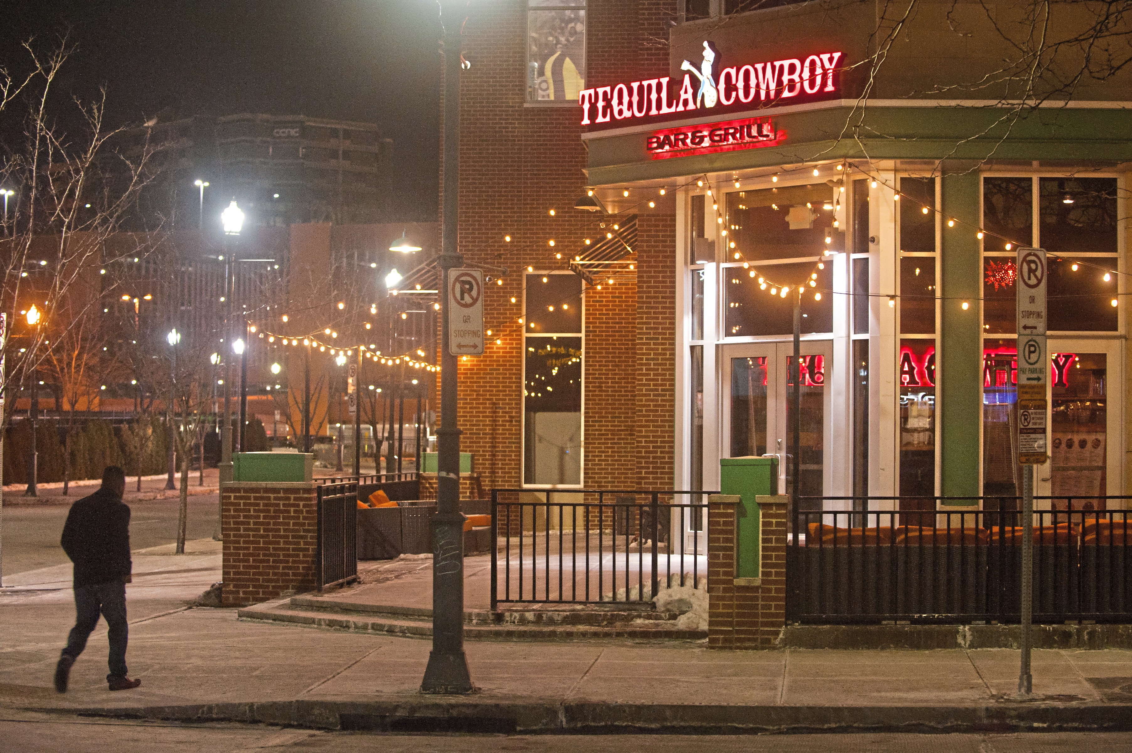 """20180107smsTequila01 Lights shine at the entryway for Tequila Cowboy on Sunday, Jan. 7, 2018 along the North Shore by Heinz Field. On New Years Eve, Steelers offensive coordinator Todd Haley injured his hip and was escorted out of the bar after his wife Christine Haley was in a """"minor scuffle"""" at the establishment. (Stephanie Strasburg/Post-Gazette)"""