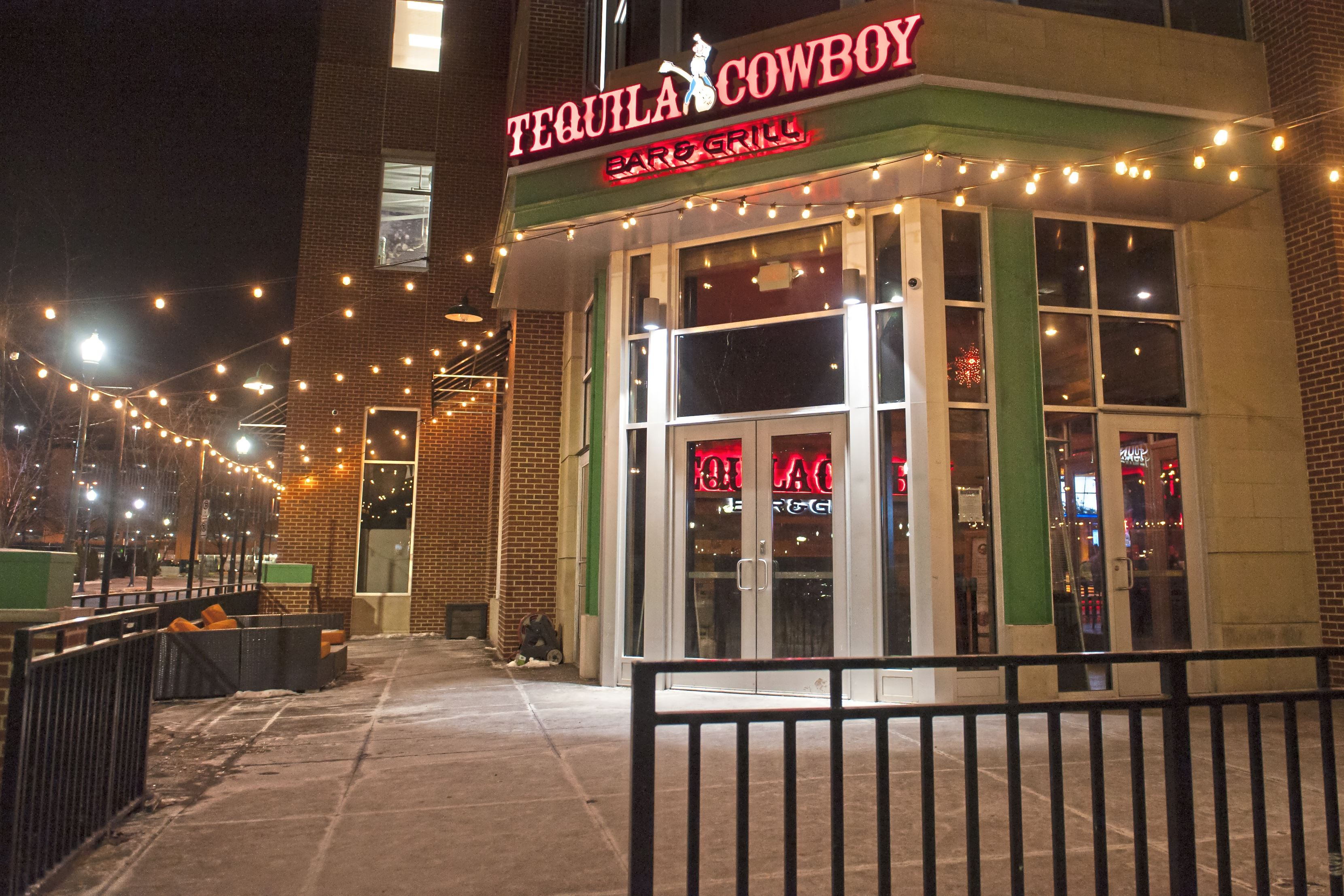 """20180107smsTequila03-2 Lights shine at the entryway for Tequila Cowboy on Sunday, Jan. 7, 2018 along the North Shore by Heinz Field. On New Year's Eve, Steelers offensive coordinator Todd Haley injured his hip and was escorted out of the bar after his wife Christine Haley was in a """"minor scuffle"""" at the establishment."""