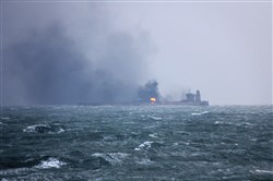 This handout photo from the Transport Ministry of China taken and released on January 9, 2018, shows smoke and flames coming from the burning oil tanker Sanchi at sea off the coast of eastern China.