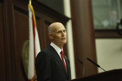 Florida Gov. Rick Scott delivers his State of the State Address in the House chambers on the opening day of the legislative session Jan. 9, 2018, in Tallahassee, Fla.