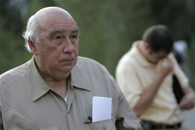 """In this Aug. 20, 2007, file photo, Robert """"Bob"""" Murray, founder and chairman of Cleveland-based Murray Energy Corp., arrives at a news conference at the entrance to the Crandall Canyon Mine, in northwest of Huntington, Utah."""