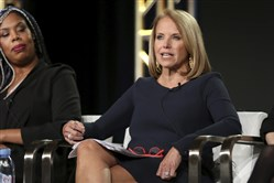 "Erica Baker, left, and Katie Couric participate in the ""America Inside Out with Katie Kouric"" panel during the National Geographic Television Critics Association Winter Press Tour on Jan. 13, 2018, in Pasadena, Calif."