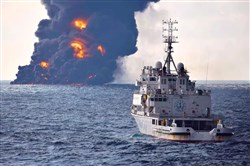 This handout picture from the Transport Ministry of China released January 14, 2018, shows smoke and flames coming from the burning oil tanker Sanchi at sea off the coast of eastern China.