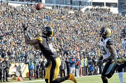 Former Steelers receiver Martavis Bryant pulls in a pass for a touchdown against the Jaguars in the second quarter of a playoff game against Jacksonville.