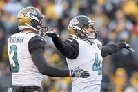 Jaguars kicker Josh Lambo, right, celebrates after a field goal Sunday against the Steelers at Heinz Field.