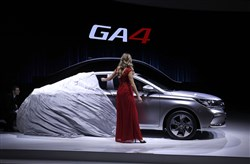 The new GAC Motor GA4 makes its debut at the 2018 North American International Auto Show on January 15, 2018, in Detroit.