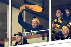 Ryan Shazier waves a Terrible Towel in January at Heinz Field.