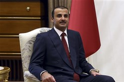 This photo shows Qatar's Sheikh Tamim bin Hamad Al Thani at the Presidential Palace in Ankara, Turkey, on Jan. 15, 2018.