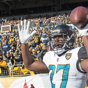 Jaguars running back Leonard Fournette reacts after he ran for a touchdown against the Steelers last January in the playoffs.