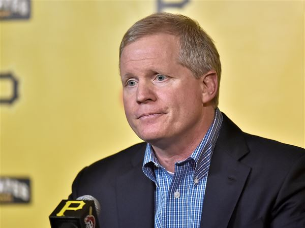 Pirates general manager Neal Huntington speaks to the media concerning the trade of outfielder Andrew McCutchen at PNC Park Monday.