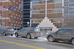 Pennsylvania Department of Corrections K-9 Unit vehicles are lined up in parking spaces in front of the Allegheny County Jail on Second Avenue Wednesday, January 17, 2018 in Pittsburgh.