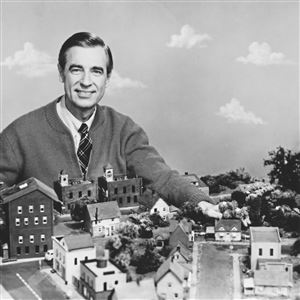 "Fred Rogers on the set of his television show ""Mister Rogers' Neighborhood."""