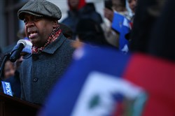 NEWARK, NJ - JANUARY 18:  Newark Mayor Ras Baraka attends a unity rally on the steps of City Hall in downtown Newark in support of immigrants January 18, 2018, in Newark, New Jersey.
