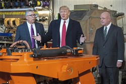 President Donald Trump tours H&K Equipment, Inc. with company executives in North Fayette Township. The company operates sales and services for large capacity trucks, forklifts, and industrial equipment. The President tours the company's 85,000 square-foot facility on the heels of what H&K says was their best business year yet.