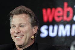 In this Oct. 17, 2011 file photo, Ross Levinsohn, then Yahoo Executive Vice President of Americas, speaks at the Web. 2.0 Summit in San Francisco. Levinsohn, currently the CEO and publisher of the Los Angeles Times, is being investigated by its parent company for allegations of inappropriate behavior. The company, Chicago-based Tronc, announced on Thursday, Jan. 18, 2017 the launch of the investigation of Levinsohn, who was given the Times' top job in August, 2017, after an NPR story detailed two sexual harassment lawsuits and complaints from employees who have worked under him at various companies.