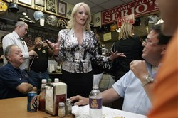 This May 6, 2009, photo shows Stormy Daniels visiting a local restaurant in downtown New Orleans.