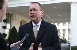 Mick Mulvaney, Director of the Office of Management and Budget, speaks to reporters about the possibility of a government shutdown at midnight tonight in Washington, DC.