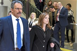 Attorney Robert Del Greco and Elly Sheykhet, mother of slain University of Pittsburgh student Alina Sheykhet, head Friday morning to the preliminary hearing in City Court, Downtown, for Matthew Darby, who is charged with killing his ex-girlfriend.