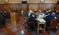 In this 2011 file photo, members of the Pittsburgh City Council sit in the council chamber with members of the police and safety officials at the table to discuss the Police Reporting and Accoutability Bill.