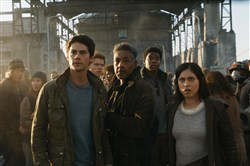 "Maze Runner: The Death Cure .. Dylan O'Brien, Thomas Brodie-Sangster, Giancarlo Esposito, Dexter Darden and Rosa Salazar in ""Maze Runner: The Death Cure."""