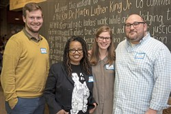 From left: Graham Mulqueen, Aisha White, Naomi Morris and Zack Block at Read Between the Lines, a Shabbat-style dinner to discuss racial justice and childhood literacy in honor of Martin Luther King Jr.