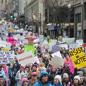 "Thousands walk down Fifth Ave. to Market Square for The Women's March on Washington- Pittsburgh ""Power to the Polls"" on Sunday, Jan. 21, 2018 downtown. ""I feel great. I feel empowered. I feel it's more about action today, not reaction like last year,"" said Tara Lindsay, 45, of Bradford Woods, who marched the route."