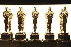 Oscar statuettes backstage at the Oscars in Los Angeles.