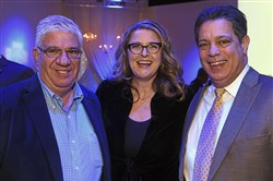 From left: State Sen. Wayne Fontana, Dawn Keezer and state Sen. Jay Costa at the Pittsburgh Film Office's Patrons Party on Friday night at the J Verno Studios on the South Side.