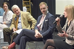 Candidates for Pittsburgh City Council's open District 8 seat participate in a forum at Chatham University in January. From left: Sonja Finn, Martin Healey, Rennick Remley and Erika Strassburger.