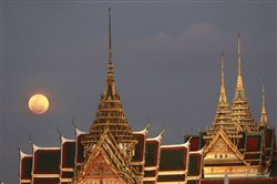 "More and more senior travelers are seeking exotic destinations. Bangkok, Thailand this year is the third most popular international destination for that demographic, according to a new survey by One Travel. This is the Grand Palace in Bangkok, with a ""super moon"" in the background."