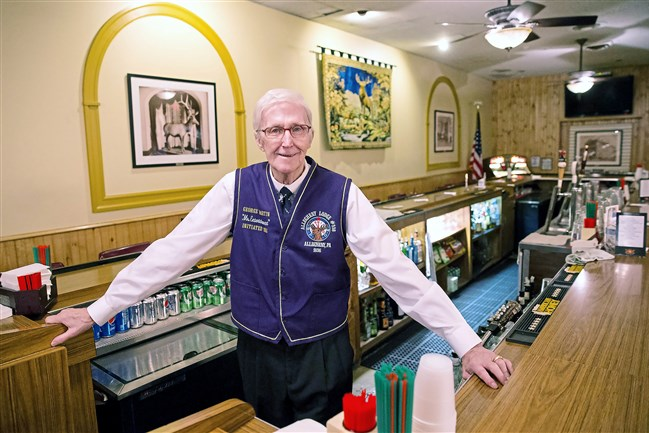 George Martin is a volunteer bartender at the Allegheny Elks Club No. 339 in North Side. Mr. Martin will be turning 90 on Friday and is aiming to serve 90 drinks for the occasion.
