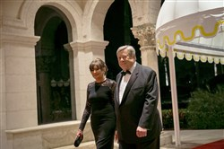 Viktor and Amalija Knavs, the parents of first lady Melania Trump, arrive for a New Year's Eve gala with President Donald Trump at the Mar-a-Lago club in Palm Beach, Fla., Dec. 31, 2017. (Al Drago/The New York Times)