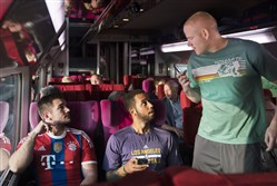 "Alek Skarlatos, Anthony Sadler and Spencer Stone play themselves in ""The 15:17 to Paris."""